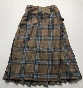 lined Vintage womans kilted skirt,grey tartan waist 28 inch
