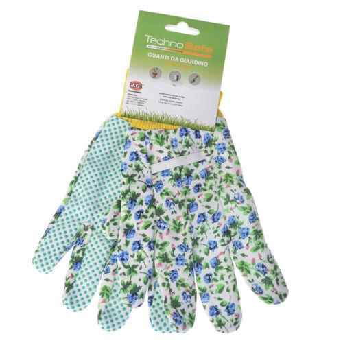 Gartenhandschuhe Technosafe kurz weiß//blau geblumt Größe 7