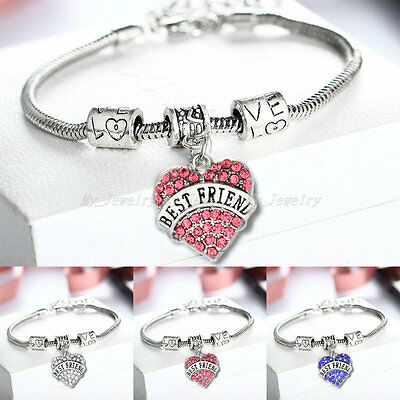 Bling Crystal Love Heart Best Friend Charm Bracelet Jewelry Family Xmas Gifts
