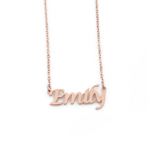 """/""""Emily/"""" Name Necklace Stainless Steel// 18ct Rose Gold PlatedChristmas"""