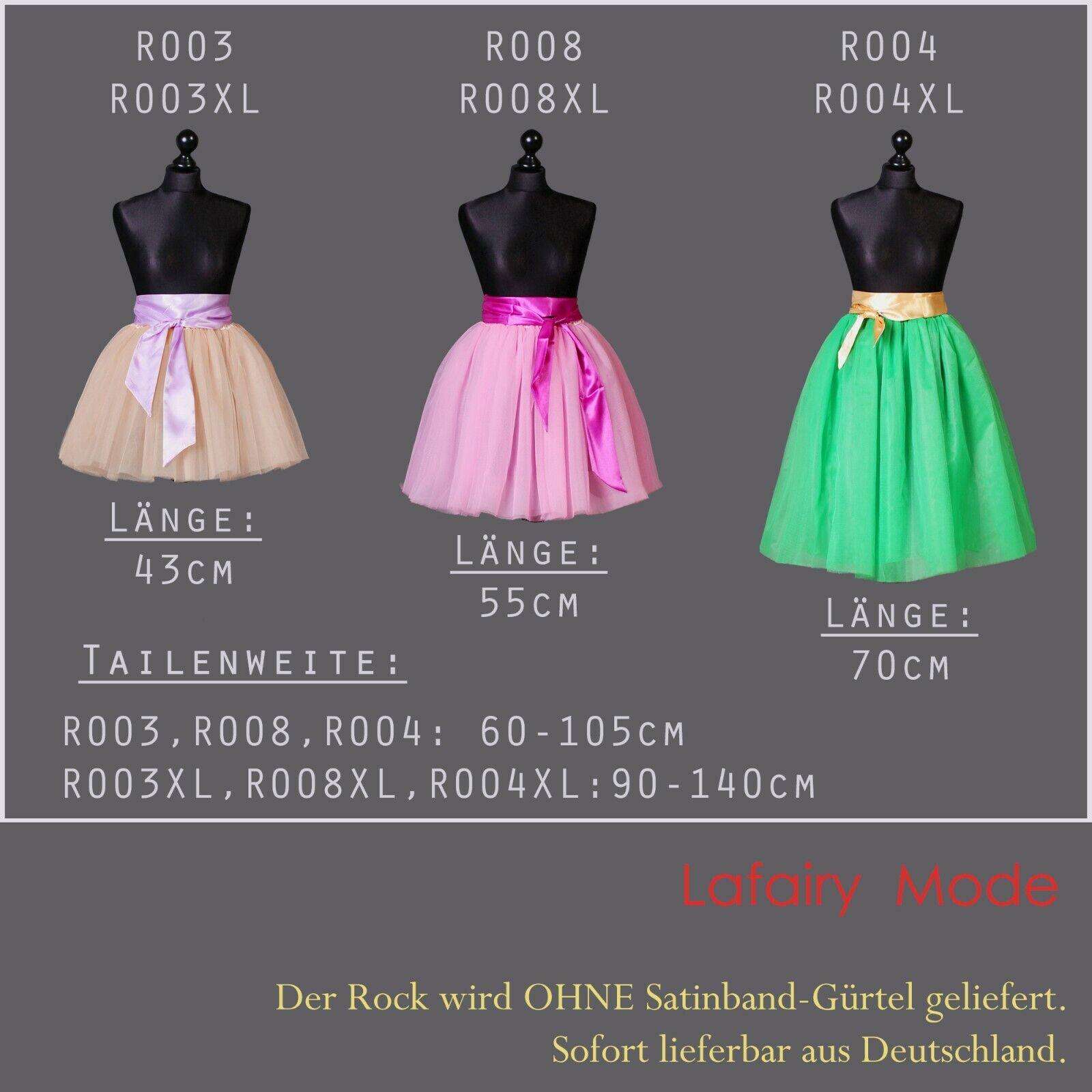 5 Lagen 43cm Tütü Ballettrock Tüllrock Petticoat Tanzrock Karneval 20LF