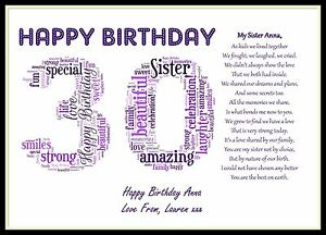 Group Of 30 Birthday Sister Poems