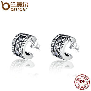 Bamoer-New-S925-Sterling-Silver-Stud-Earrings-Geometric-affect-For-Women-jewelry