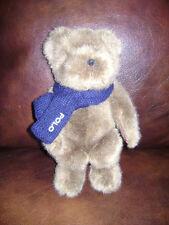"POLO RALPH LAUREN 2001 TEDDY BEAR PLUSH STUFFED  10"" BROWN BLUE KNIT SCARF CUTE"