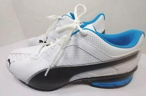 c783dd0b8e3f PUMA Eco Ortholite White Blk Turquoise Blue Leather Sport Sneaker ...