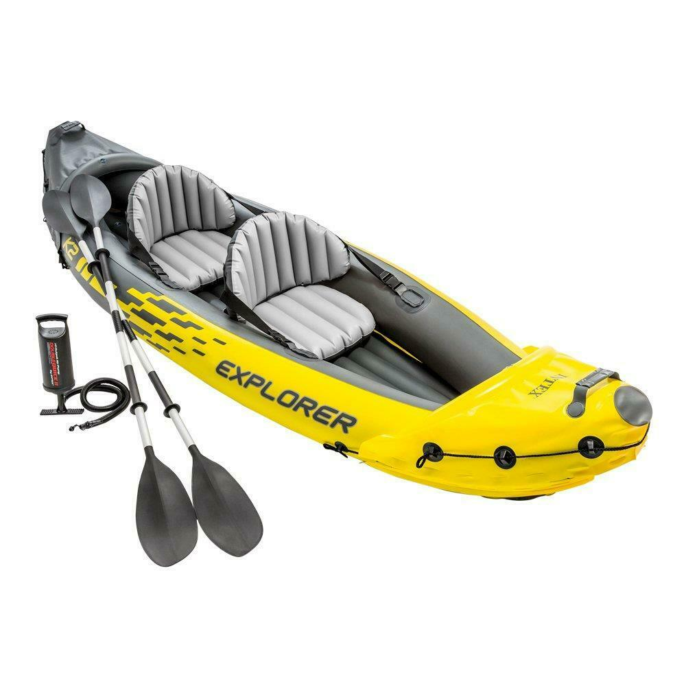 Intex Explorer K2 Two-Person INFLATABLE Kayak CANOE With Oars + Pump SET FISHING