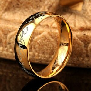 Lord-of-the-Rings-The-One-Ring-Power-Gold-Plated-6mm-Unisex-LOTR-Stainless-Steel