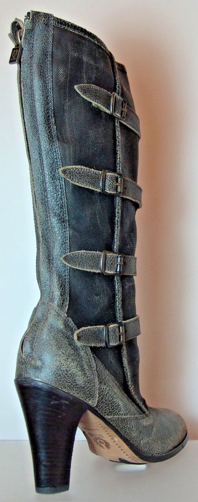 Belstaff Leather & Waxed Canvas Canvas Canvas Buxton Boots shoes EU Size 40 Made In  7bc9fe