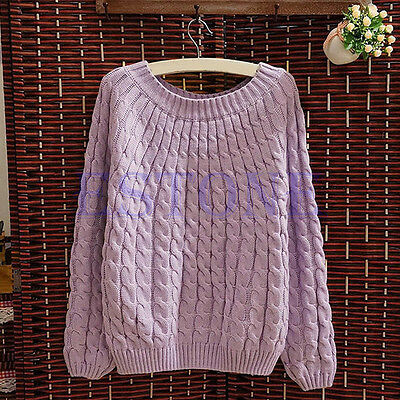 Women Casual Long sleeve Knitted Pullover Loose Sweater Knitwear Jumper Tops NEW