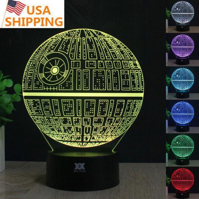 Star Wars Death Star 3D LED Acrylic Night Light 7Color Touch Table Desk Art Lamp