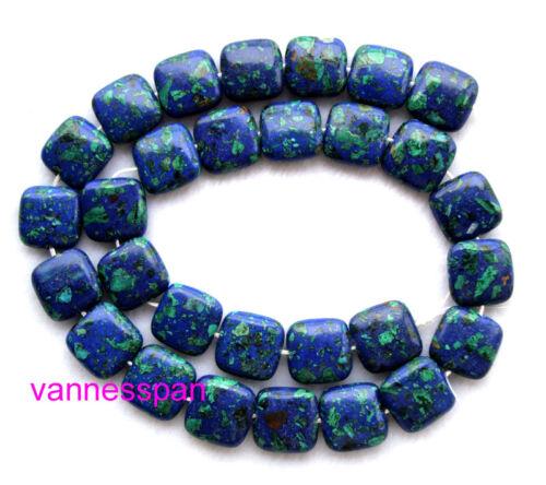 "Azurite Malachite Flat Square Beads 14×14mm 15.8/"""