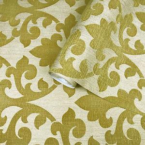 Flocking Wallpaper Gold Burgundy Textured Velvet Vintage Damask Velour Rolls 3D