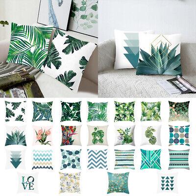 18/'/' Green Tropical Leaves Cushion Cover Plant Linen Pillow Case Sofa Home Decor