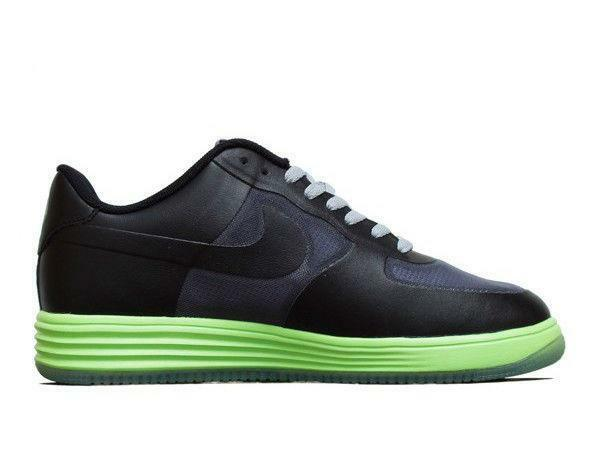Mens NIKE LUNAR FORCE 1 FUSE Black Leather Trainers 599839 002