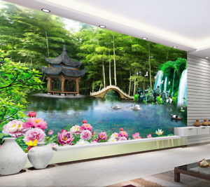 3D Pavilion Bridge 88 Wall Paper Murals Wall Print Wall Wallpaper Mural AU Kyra
