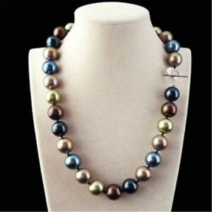 Huge-12mm-Multicolor-Round-South-Sea-Shell-Pearl-Necklace-18-039-039-Jewelry-Wedding