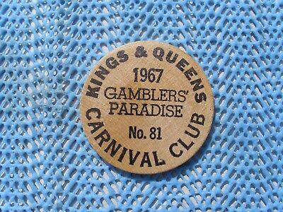 1967 Kings /& Queens Carnival Club wood nickel Mardi Gras Doubloon