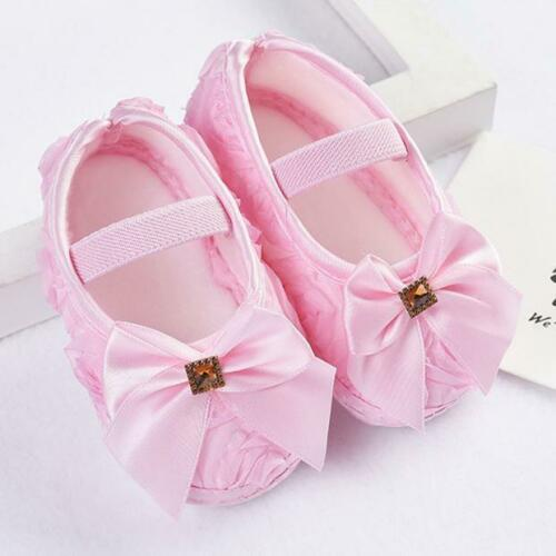 Toddler Kid Baby Girl Rose Bowknot Elastic Band Newborn Soft Walking Shoes