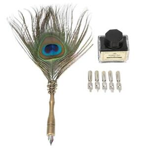 Quill-Feather-Dip-Pen-Ink-Writing-Set-Stationery-Gift-Box-Fountain-Pen-Kits-NEW