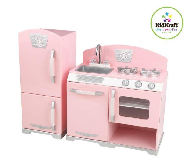 Kidkraft 53160 Pink Retro 2 Piece Kitchen Refrigerator Playset Kids Play Set