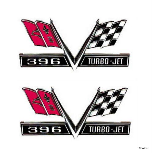 Turbo Jet 396 Crossed Flag Emblem 67 Camaro