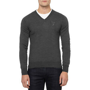 VERSACE Men Size S Wool V-Neck Knit Sweater Gray With Medusa Front Chest Logo