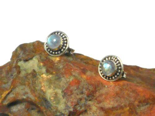 Round  MOONSTONE   Sterling  Silver  925  Gemstone  STUD  Earrings 5 mm