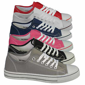 WOMENS-FLAT-PUMPS-LADIES-SHOES-CANVAS-PLIMSOLLS-GIRLS-TRAINERS-SIZE-3-4-5-6-7-8