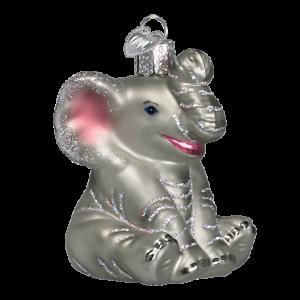 Old-World-Christmas-LITTLE-ELEPHANT-12157-N-Glass-Ornament-w-OWC-Box