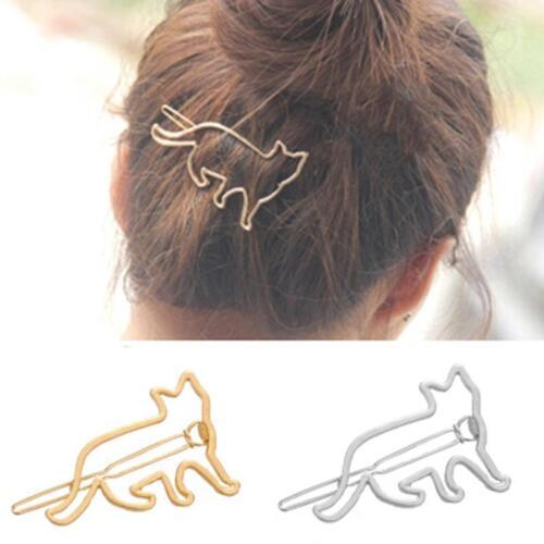 Cute Hollow Cat Hair Clip Girls Hair Accessories Lady Hairpins Headwe Jewelry FI