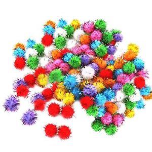 100-Pcs-Mini-Colorful-Sparkly-Glitter-Tinsel-Pompon-Balls-Toys-Dog-Cat-Bird-L8E4