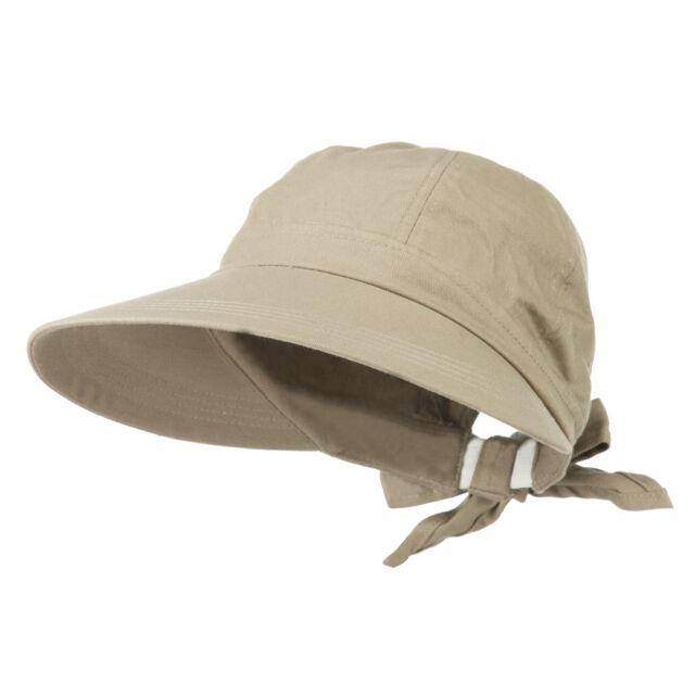 Womens Wide Brim Gardening Shade Hat With Bow Tie Back   Elastic Band Khaki f806bd2c6b7