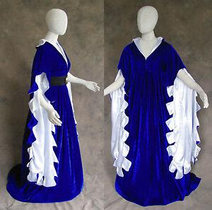 Blue Scalloped Renaissance Medieval Dress SCA Ren Faire Game of Thrones LOTR 4X