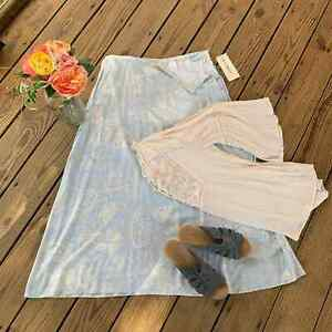 Vintage Napa Valley Blue & Pale Yellow Paisley Flare Skirt In Silky Rayon