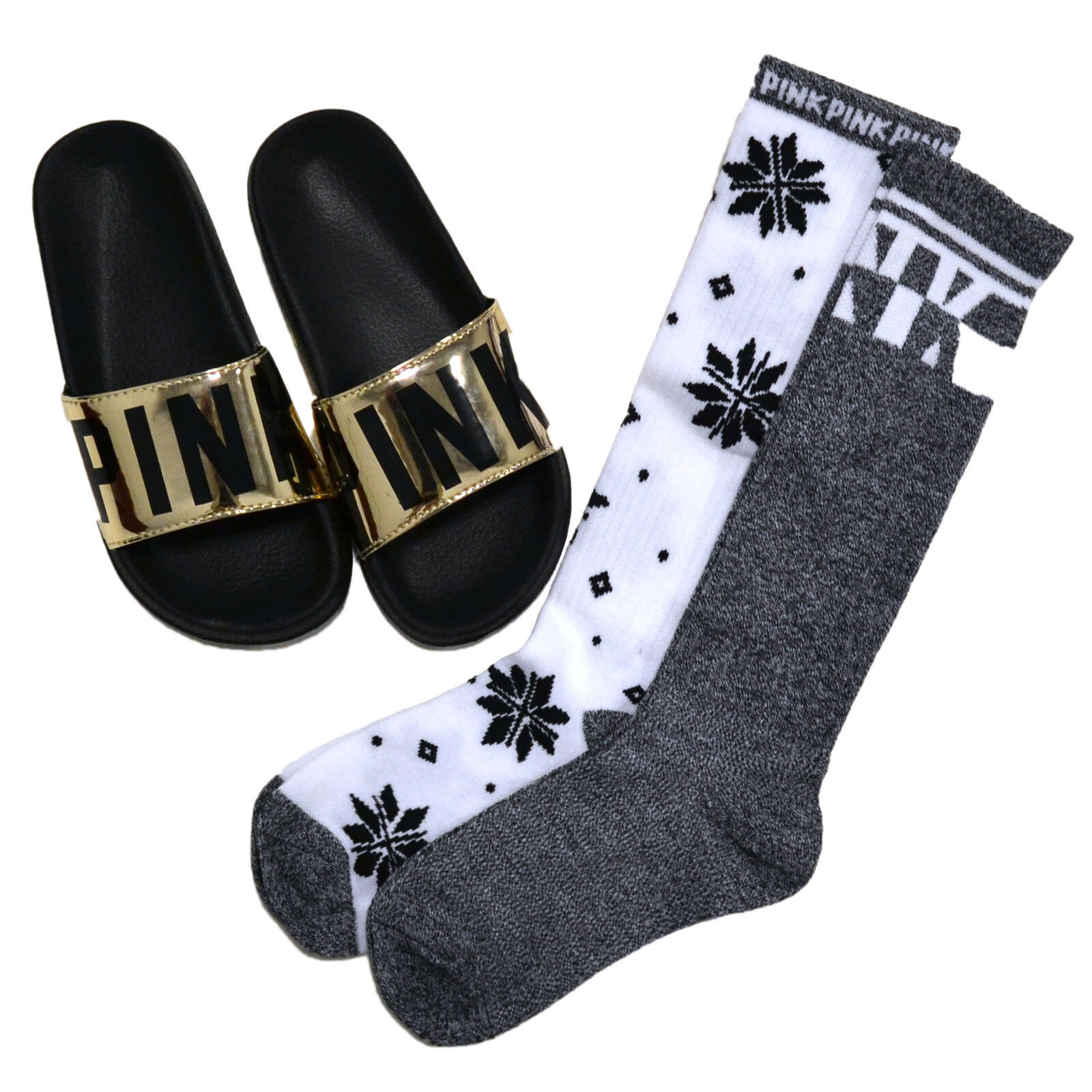 Victoria's Secret Pink Slides & Socks Gift Set 3 Piece Knee High Sandals New Nwt