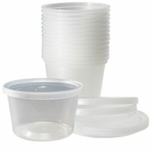12 Sets 16 Oz Plastic Soup Food Containers Lids Clear Heavy Guage
