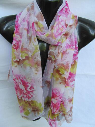 Fiore di Rosa o Nero Rose Stampa Sciarpa in Chiffon Donna Scialle Sarong UK Venditore