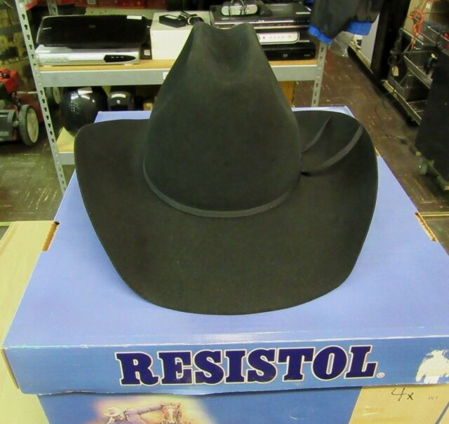 ce256e0ea01e4 Resistol Long Oval 4X Beaver Cowboy Hat 7 3 8 Black Color