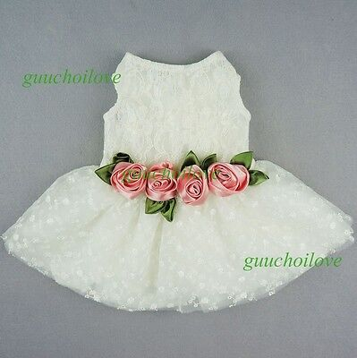 Fitwarm Wedding Dress Pet Clothes Pink Rose White Lace Dog Apparel Bridal Dress