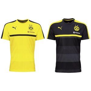 Dettagli su PUMA Bvb Borussia Dortmund Maglia Allenamento Maglietta Nero Giallo 2016 2017