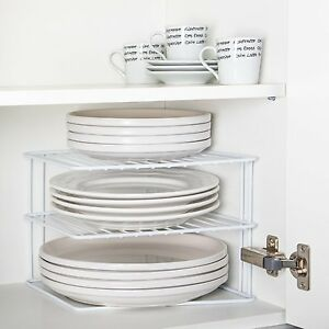 Image is loading Wire-Add-A-Shelf-Corner-Plate-Rack-For-  sc 1 st  eBay & Wire Add A Shelf Corner Plate Rack. For Kitchen Cupboard Pots Pans ...