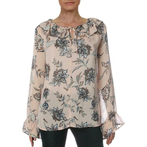 Hazel Womens Pink Sheer Floral Peasant Blouse Top XS BHFO 6097