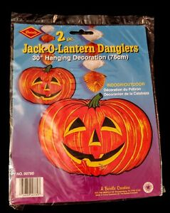 Vintage 1973 HALLOWEEN DECORATIONS Bristle 2 pc JACK O LANTERN DANGLERS 5 Avail.