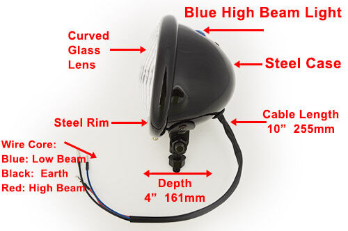 "4.75/"" Motorcycle Motorbike Bates Headlight Black Bottom Mount Cafe Racer Project"