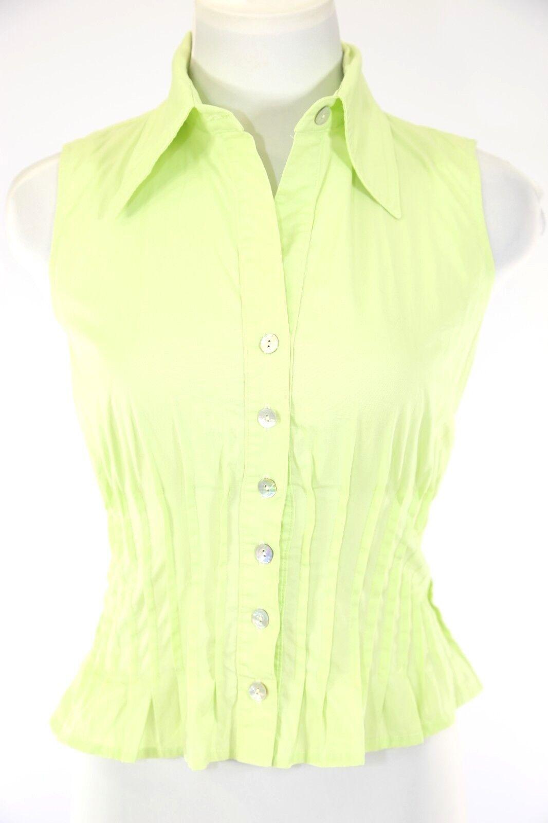Finley Mint Grün Pleated Sleeveless Stretch Blouse Shirt Top XS  D10
