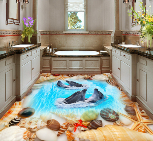 3D Shell Dolphin 978 Floor WallPaper Murals Wall Print Decal AJ WALLPAPER US