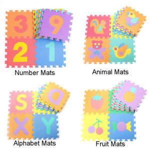 10Pcs Soft EVA Foam Puzzle Mat Pad Floor Baby Kids Toddler Play Crawling Rugs