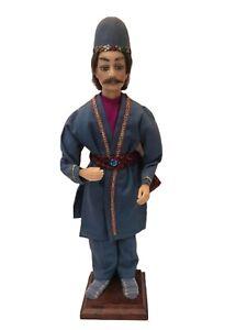 Handmade-Statue-Art-Wax-Traditional-European-Folk-Male-in-Costume-17-034-on-Stand