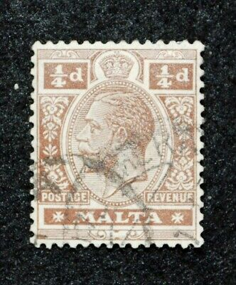 Conscientious Stamps Kgv Malta Sg 69 1/4d Brown Good To Fine Used 1914