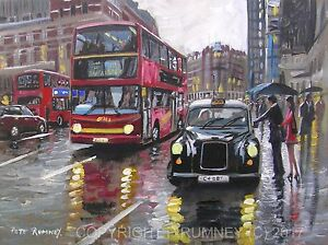 PETE-RUMNEY-FINE-ART-BUY-ORIGINAL-PAINTING-CANVAS-WALL-PICTURE-LONDON-TAXI-CAB